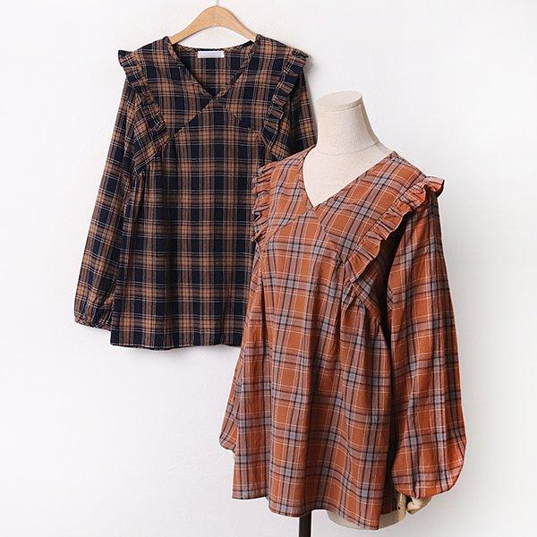 009 러브프릴체크블라우스 DLTA873 도매 배송대행 미시옷 임부복