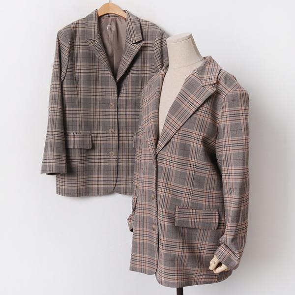 010 체크폴리플랩오버자켓 DMOA990 도매 배송대행 미시옷 임부복