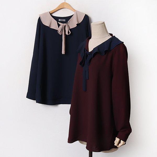 010 배색숄리본블라우스 DBGB311 도매 배송대행 미시옷 임부복