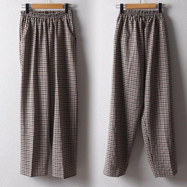 102 폴리와이드체크통팬츠 DNNB929 도매 배송대행 미시옷 임부복