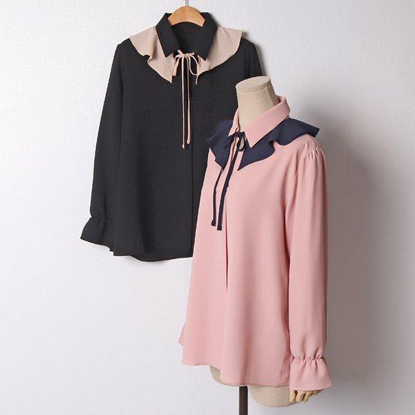 102 러브유숄배색블라우스 DBGB950 도매 배송대행 미시옷 임부복