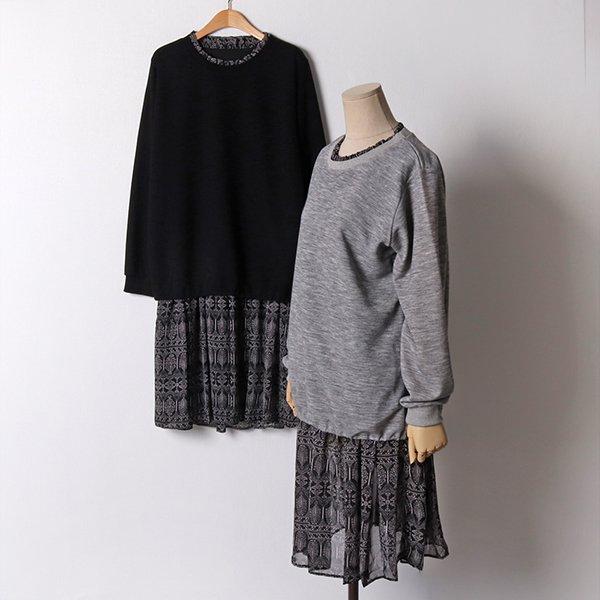 102 골지니트쉬폰롱원피스 DMNB965 도매 배송대행 미시옷 임부복