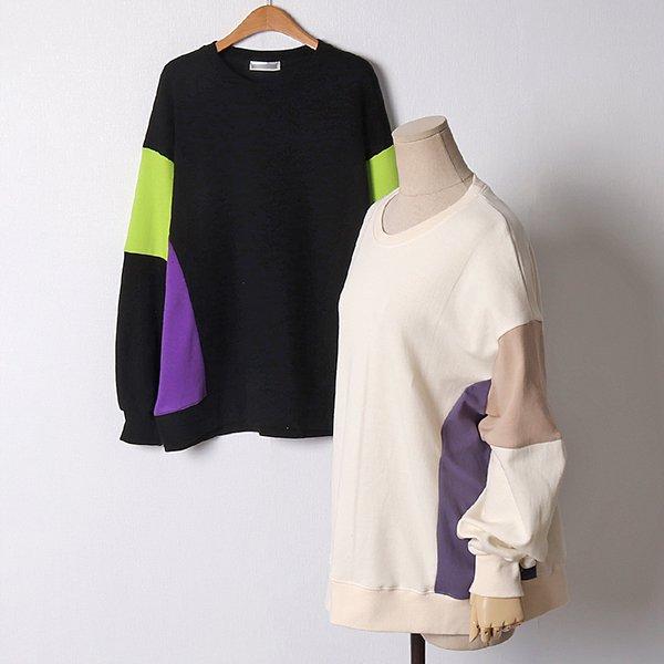 103 콤비배색오버핏맨투맨 DSMB990 도매 배송대행 미시옷 임부복