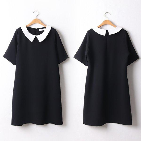 104 러스크배색정장원피스 DBED224 도매 배송대행 미시옷 임부복