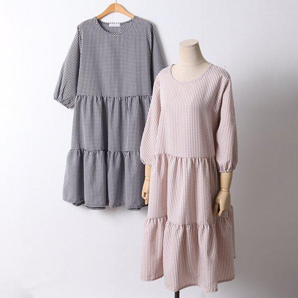 106 망고셔링체크롱원피스 DBED526 도매 배송대행 미시옷 임부복