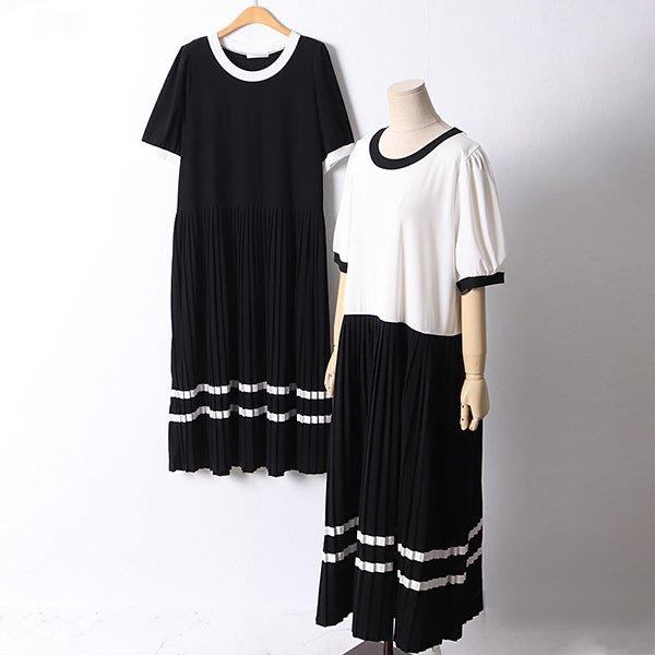 106 발롱배색플리츠원피스 DAYD633 도매 배송대행 미시옷 임부복