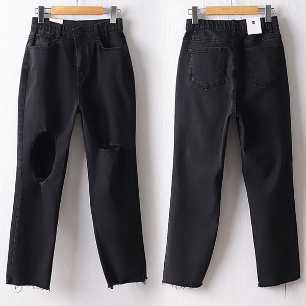 106 소울컷팅트임블랙팬츠 DDOD637 도매 배송대행 미시옷 임부복