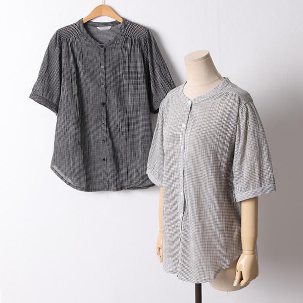 빅사이즈 107 어니언라운드체크남방 DLYD847 도매 배송대행 미시옷 임부복