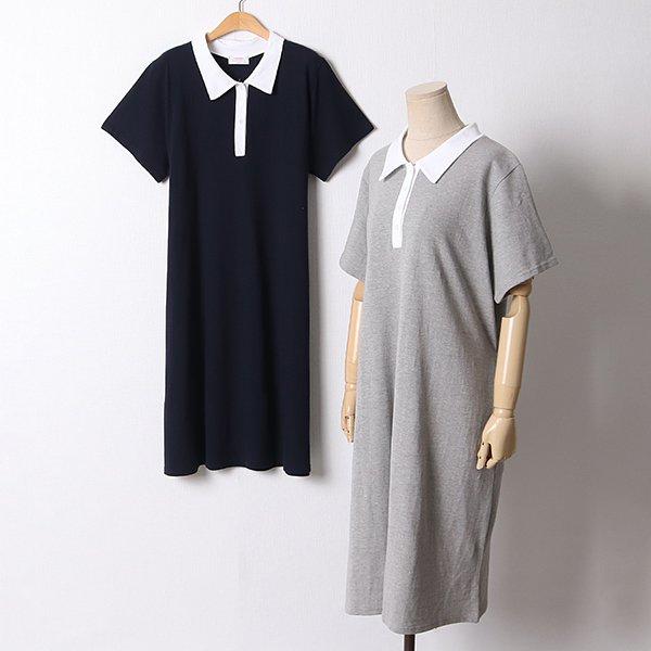 107 허리끈배색카라원피스 DCHD923 도매 배송대행 미시옷 임부복