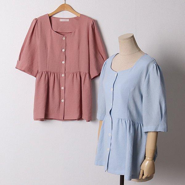 107 셔링스퀘어넥블라우스 DPED930 도매 배송대행 미시옷 임부복
