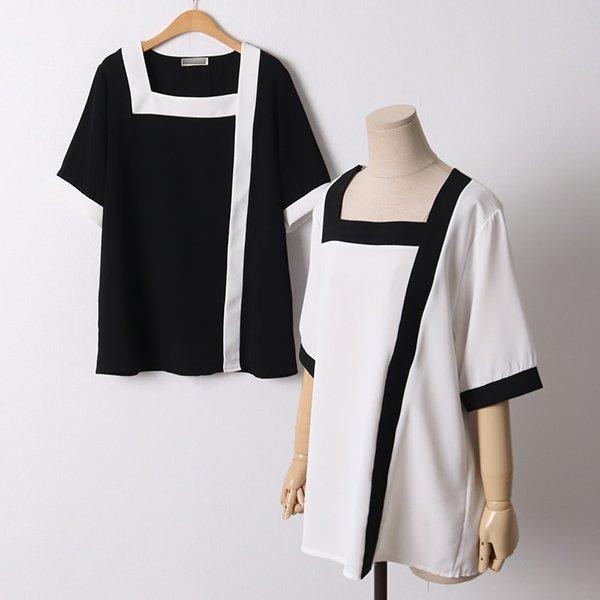104 루나스퀘어넥블라우스 DNBE086 도매 배송대행 미시옷 임부복