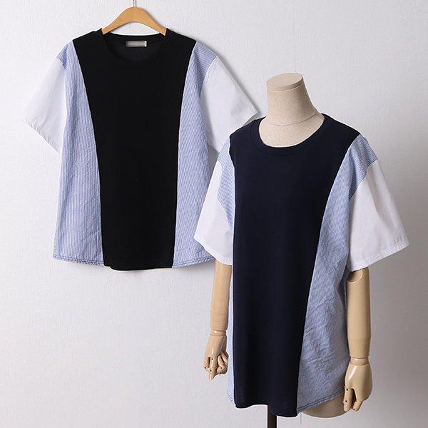 104 앤디라운드단가라반팔 DNBE089 도매 배송대행 미시옷 임부복