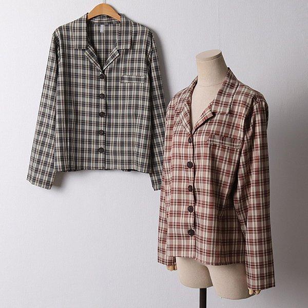 108 심플일자버튼체크자켓 DLTF108 도매 배송대행 미시옷 임부복