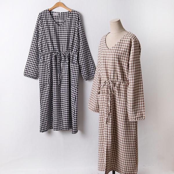 109 베이직체크끈롱원피스 DCHF330 도매 배송대행 미시옷 임부복
