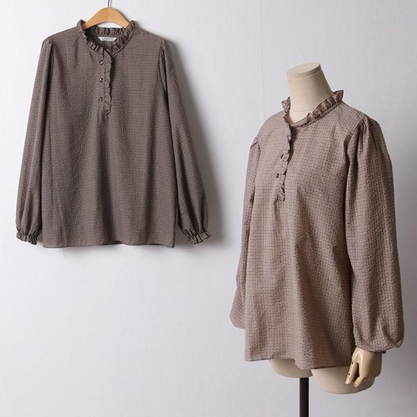 109 체크프릴코튼블라우스 DLYF332 도매 배송대행 미시옷 임부복