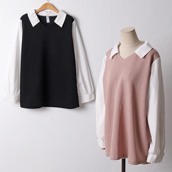 110 베이직배색카라니트티 DGOF400 도매 배송대행 미시옷 임부복