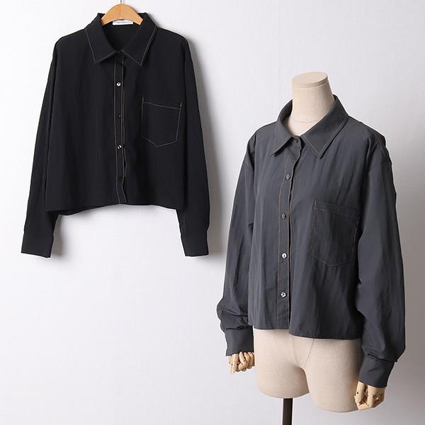 110 심플모던일자크롭셔츠 DNNF415 도매 배송대행 미시옷 임부복