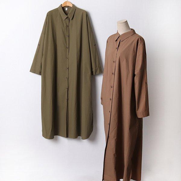 110 소매롤업롱셔츠원피스 DRAF424 도매 배송대행 미시옷 임부복