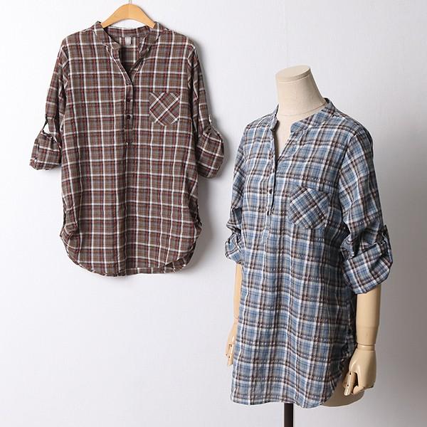 110 소매롤업체크패턴셔츠 DOLF427 도매 배송대행 미시옷 임부복