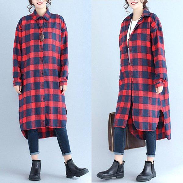 린넨면 체크 롱셔츠 SK2497M908  도매 배송대행 미시옷 임부복