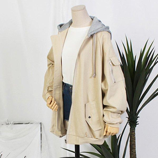 배색후드 면 자켓 TW2512M909  도매 배송대행 미시옷 임부복