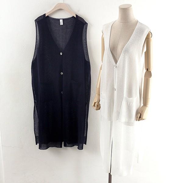 루즈 니트 롱 조끼 RM0321RM904  도매 배송대행 미시옷 임부복