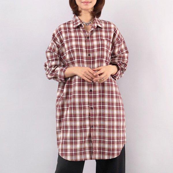체크 루즈 롱 셔츠 WW4284M902  도매 배송대행 미시옷 임부복