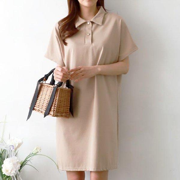더블버튼카라원피스 GG5115M904  도매 배송대행 미시옷 임부복