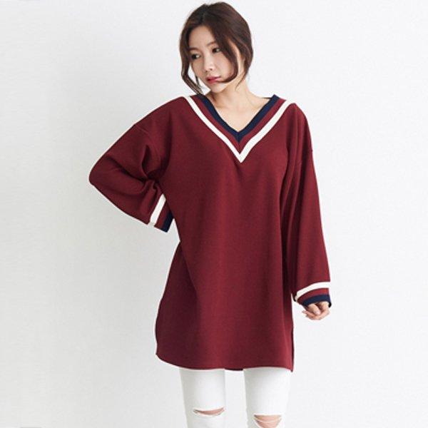 루즈핏배색브이롱티 SO7046M910  도매 배송대행 미시옷 임부복