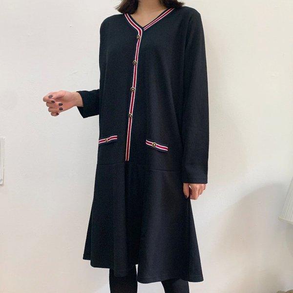 프릴배색테잎원피스 BS7339M911  도매 배송대행 미시옷 임부복