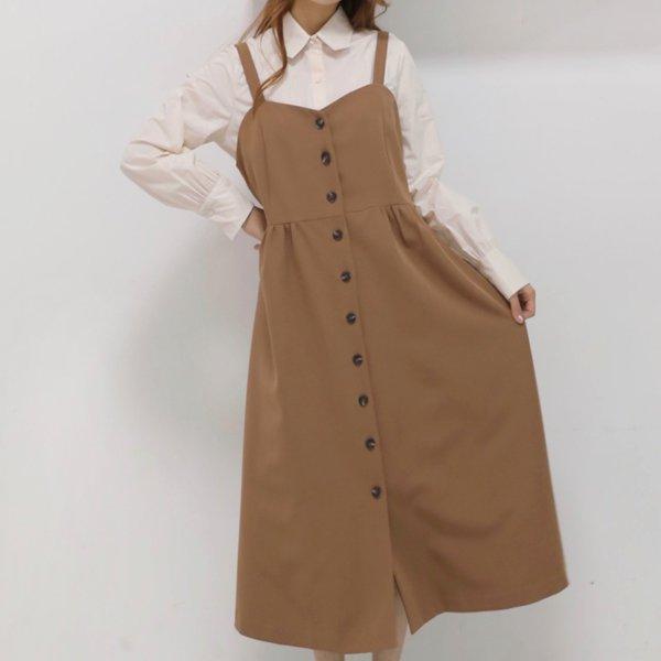하트넥버튼끈원피스 WB7363M911  도매 배송대행 미시옷 임부복