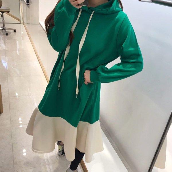 후드하프배색원피스 BE7660M912  도매 배송대행 미시옷 임부복