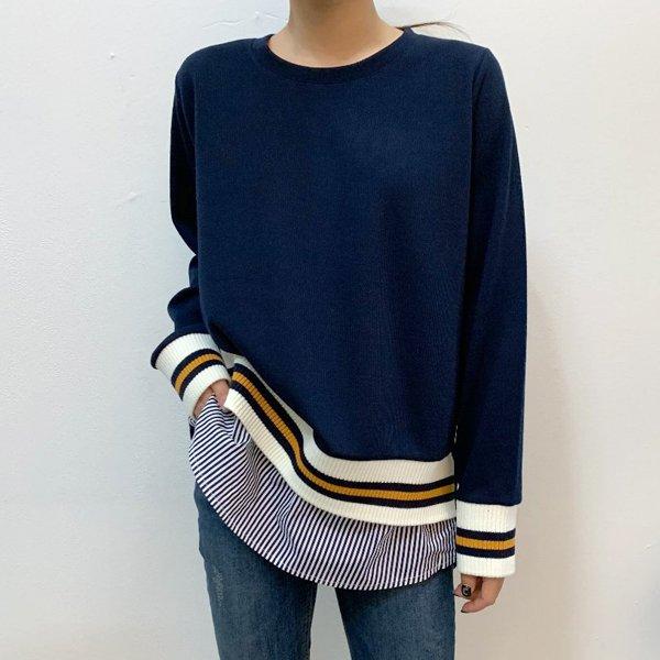 요꼬줄지배색셔츠 BS7983M001  도매 배송대행 미시옷 임부복