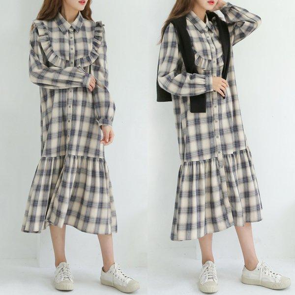 클래식체크롱원피스 WB7988M001  도매 배송대행 미시옷 임부복