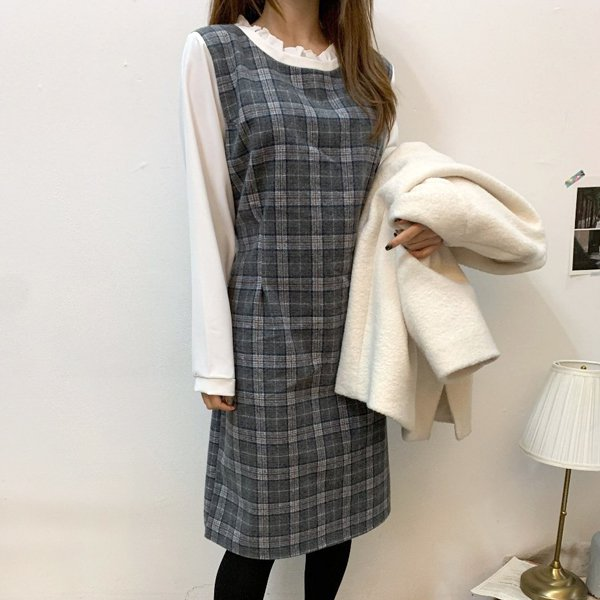 쉬폰핀턱체크원피스 BS7996M001  도매 배송대행 미시옷 임부복