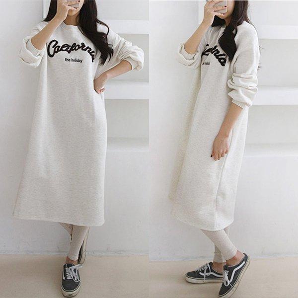 캘리영문기모원피스 GG8059M001  도매 배송대행 미시옷 임부복