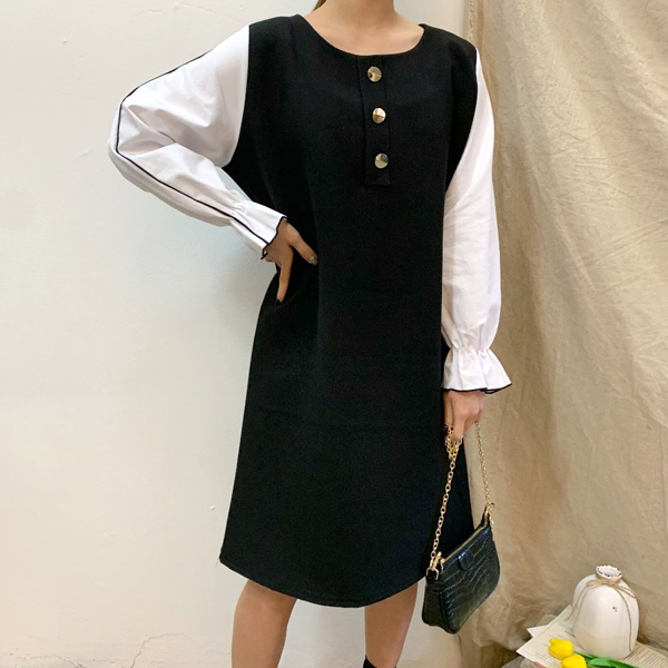 골드단추모던원피스 BS8107M002  도매 배송대행 미시옷 임부복
