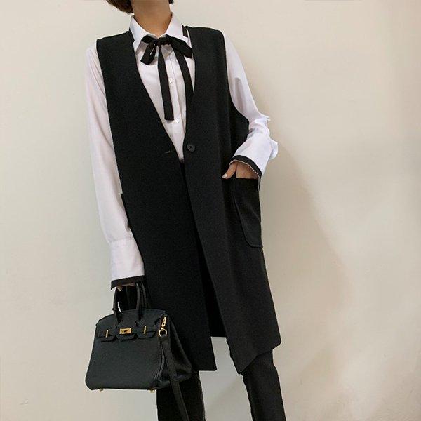 빅사이즈 심플무지롱베스트 IR9707M005 도매 배송대행 미시옷 임부복