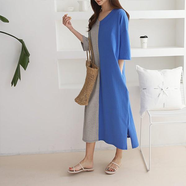빅사이즈 하프배색벌룬원피스 GR9743M005 도매 배송대행 미시옷 임부복
