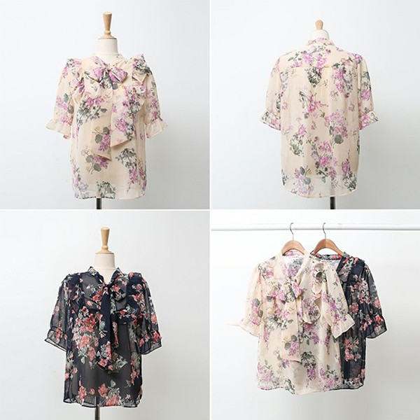 빅사이즈 꽃타이쉬폰블라우스 WB9755M005 도매 배송대행 미시옷 임부복