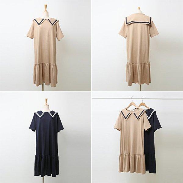 빅사이즈 세일러코튼원피스 WB9759M005 도매 배송대행 미시옷 임부복