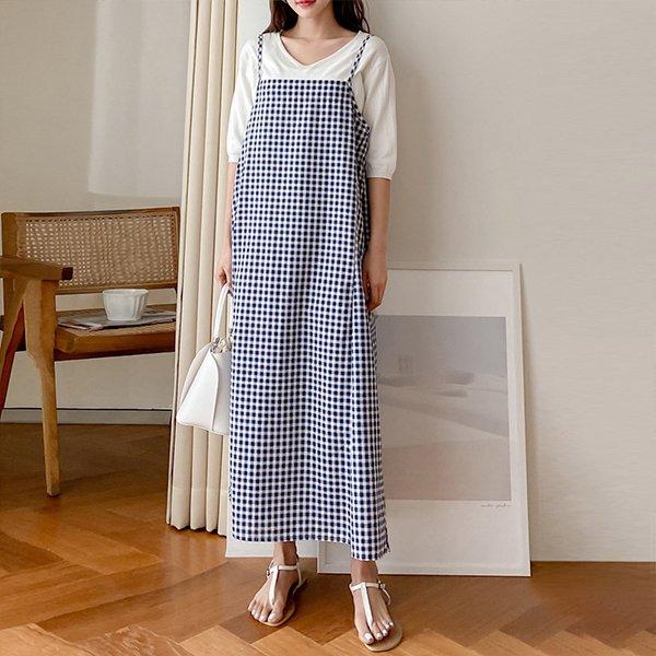 빅사이즈 썸머체크나시원피스 BE9772M005 도매 배송대행 미시옷 임부복
