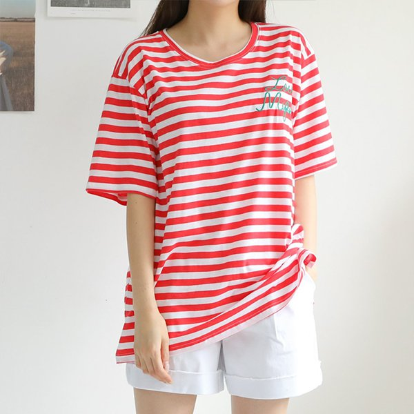 빅사이즈 심플자수단가라롱티 WBA417M006 도매 배송대행 미시옷 임부복