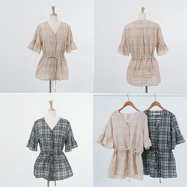 브이체크끈블라우스 DWBA420 도매 배송대행 미시옷 임부복