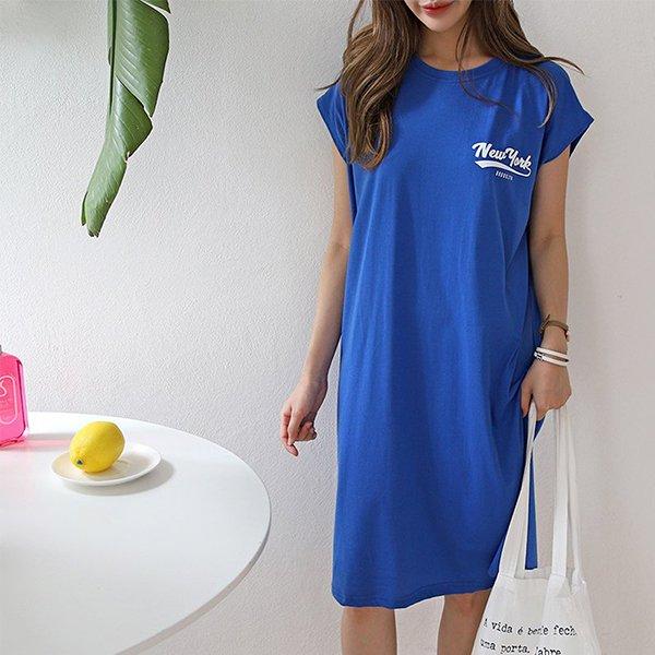 007 뉴레터링캡소매원피스 DNOA433 도매 배송대행 미시옷 임부복