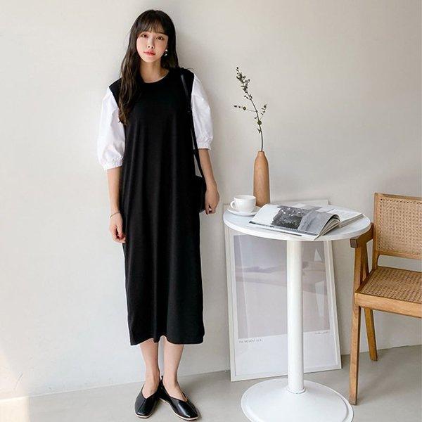 |007 배색퍼프롱루즈원피스 DBEA439 도매 배송대행 미시옷 임부복