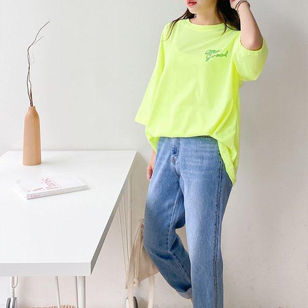 007 레터링형광박스티 DSUA469 도매 배송대행 미시옷 임부복