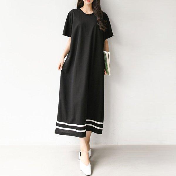 007 살랑쉬폰배색롱원피스 DBEA552 도매 배송대행 미시옷 임부복