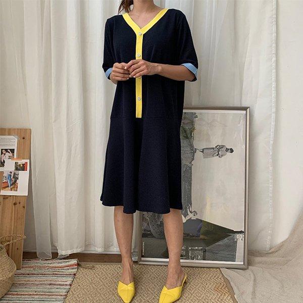 BS 유니배색플레어원피스(A561H007) 도매 배송대행 미시옷 임부복