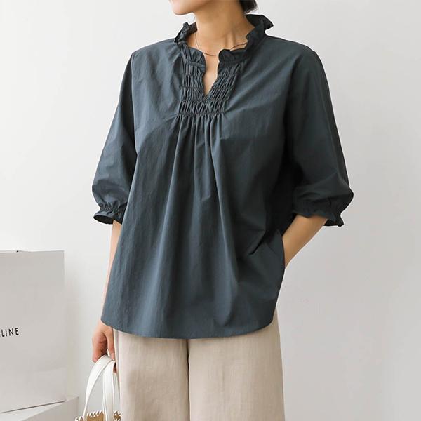 빅사이즈 007 꼬임카라프릴밴딩셔츠 DSOA578 도매 배송대행 미시옷 임부복